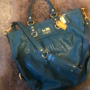 Coach Leather Top Handle Bag with Crossbody